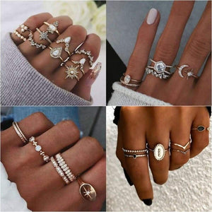 Multi Piece Women's Ring Sets Metal Gold Pave Cz Sun Moon Party Set Rings For Women Jewelry
