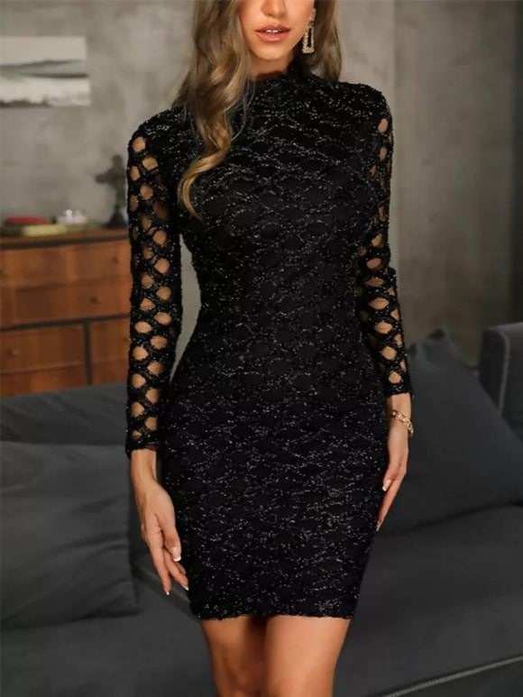 2019 Women Dress Evening Gown Black Long Sleeve Sexy Elegant Lady Bodycon Hollow A-Line Short Dresses