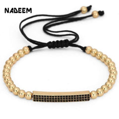 Nadeem Micro Pave Cz Crystal Gold Color Bar Charm Bracelet Jewelry Braided 5Mm Copper Bead For Women Girl