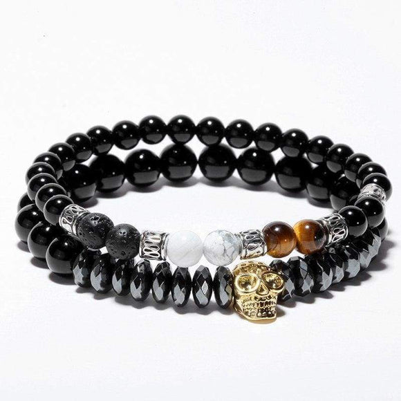Natural Stone Bracelet For Men Trendy Handmade Skull Beads Set Charms Men's Bracelets Jewelry Viking Gold