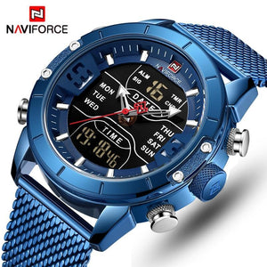 Naviforce Mens Watches Men Sports Men's Quartz Led Digital Clock Male Full Steel Military Wrist Watch