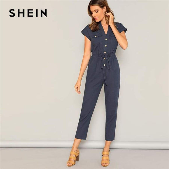 Navy Waist Drawstring Button And Pocket Front Solid Cap Sleeve Jumpsuit Women Summer Casual High Street Workwear Jumpsuits