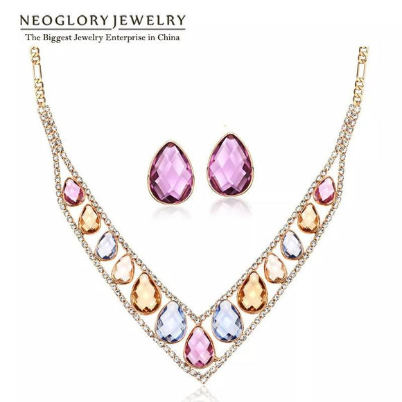 Neoglory Colorful Crystal Rhinestones Rose Gold Color Jewelry Sets V Collar Bead Necklaces Earrings