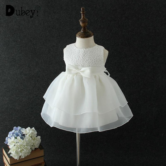Newborn Girls Baptism Dresses Baby Princess Dress For First Birthday Party Solid Color Bow-Knot Wedding Costumes