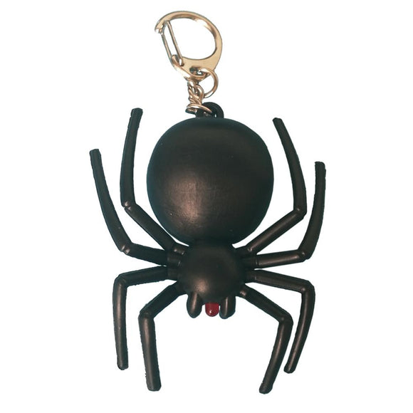 Noise-Making Black Spider Keychain with LED Light (BLACK)