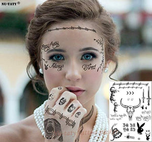 Nu-Taty Post Malone Face Tattoo Sticker Halloween Waterproof Tool