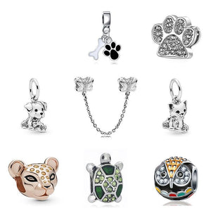 Original Sliver Plated Bead Alloy Cat Dog Pet Owl Animal Charm Fit Pandora Bracelet Necklace Diy Women Jewelry