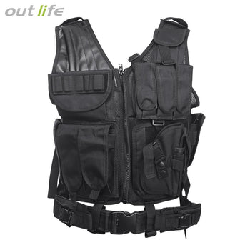 Outlife Outdoor Hunting Military Tactical Paintball Molle Vest (BLACK)