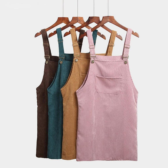 Overall Dress Women's Sundress Retro Suspender Sarafan Loose Vintage Corduroy Casual Sleeveless Dresses