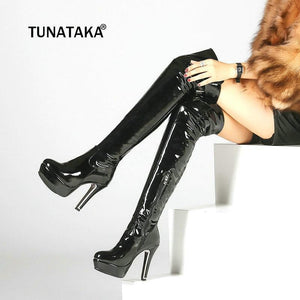 Patent Leather Sexy Thigh High Heel Boots Winter Women Over The Knee Plus Size Shoes Platform Zipper Red Black Color
