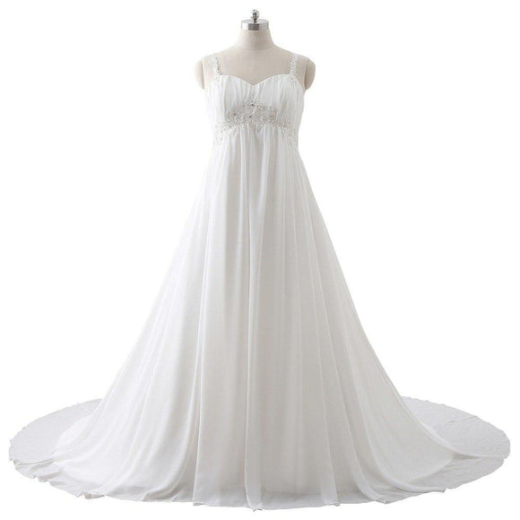 Plus Size Maternity Wedding Dresses Empire Lace Appliques Beaded Chiffon De Novia Ivory 10