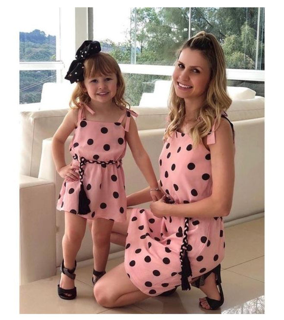 Polka Dot Sleeveless Mother And Daughter Matching Dresses Family Look Mommy Me Clothes Mom Mum Baby Girls Dress Clothing