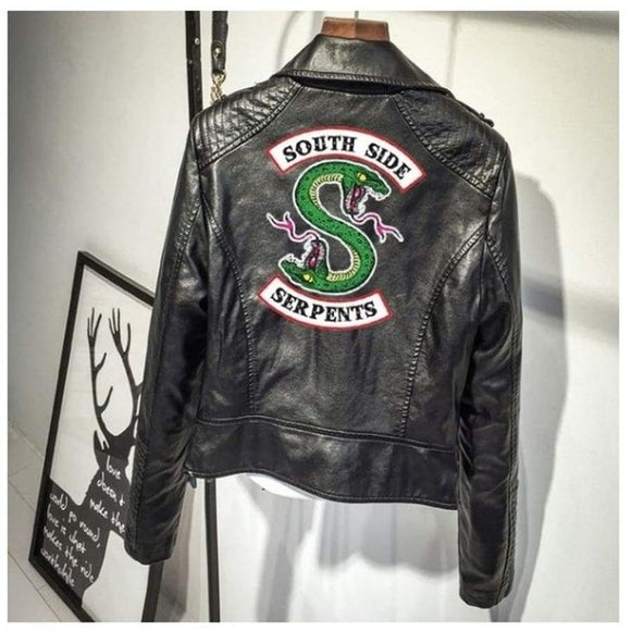 Print Logo Southside Riverdale Serpents Pink/Black Pu Leather Jackets Women Streetwear Coat