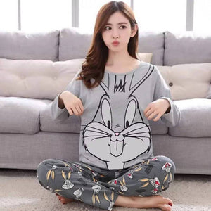 Pyjama Women Pajamas Sets Spring Summer Long Sleeve Thin Print Cute Sleepwear