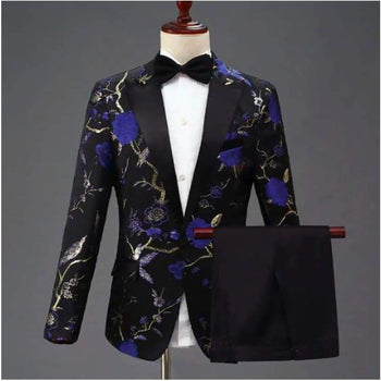 Pyjtrl Design Mens Stylish Embroidery Royal Blue Green Red Floral Pattern Suits Stage Singer Wedding Groom Tuxedo Costume