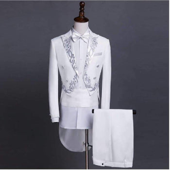 Pyjtrl Male Gold Silver Embroidery Lapel Tailcoat Stage Singer Groom Black White Wedding Tuxedos For Men Costume