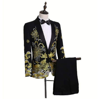 Pyjtrl Male Shawl Lapel White Black Red Embroidered Prom Dress Suits Stage Singer Costume Mens With Pants