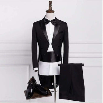 Pyjtrl Plus Size S-4Xl Mens Classic Black White Shiny Lapel Tailcoat Tuxedo Wedding Groom Stage Singer Four Piece Suit