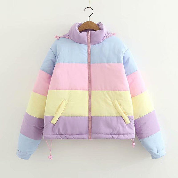Rainbow Colorful Cotton Padded Parkas Women's Autumn Winter Detachable Hat Coat Macaron Pastel Panel Puffer Jacket Coats