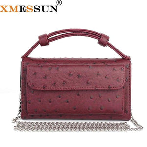 Real Cow Leather Day Clutch One Shoulder Cross-Body Bag Ostrich Pattern Genuine Chain Women's Handbags
