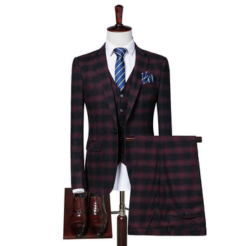 Red Plaid Mens Suit Blazer + Vests Pants S M L 2Xl 3Xl Gentleman Wedding Banquet Elegance Clothing Men's Coats Man Waistcoat
