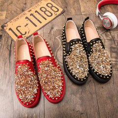 Red Sequin Rivets Men Casual Shoes Flats Moccasin Loafers Revert Party Luxury Male Sneakers Driving - Xodeys.com