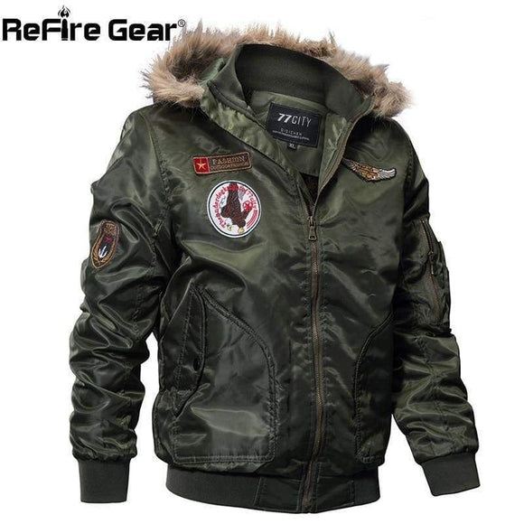 Refire Gear Winter Military Bomber Jacket Men Air Force Army Tactical Warm Wool Liner Outerwear Parkas Hoodie Pilot Coat Blue