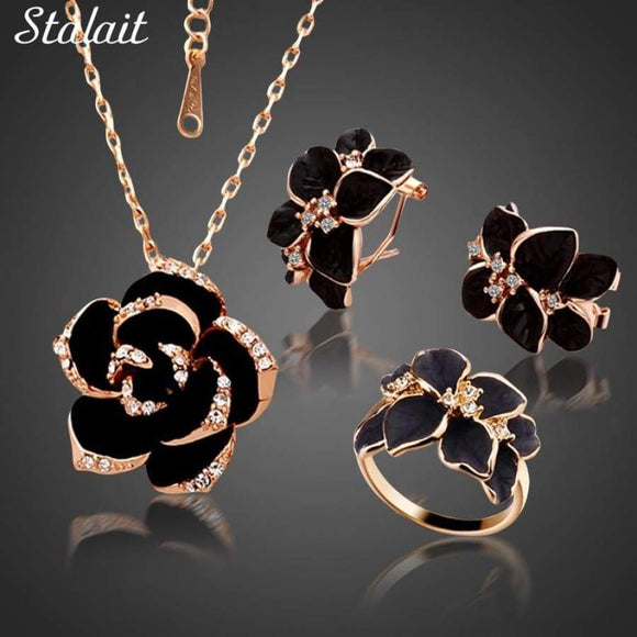 Rose Flower Enamel Jewelry Set Gold Color Black Painting Bridal Sets For Women 82606
