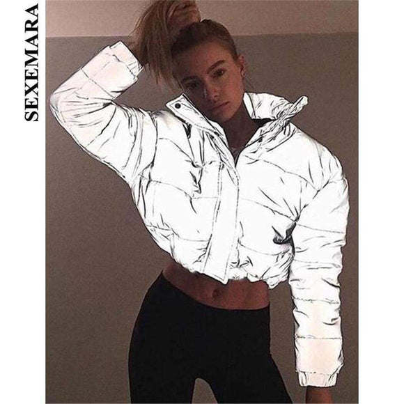 Sexemara Reflective Jacket Winter Coat Women Parka Streetwear Warm Casual Padded Outerwear Windbreaker C54-Cz34