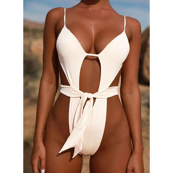 Sexy Hollow Out Swimsuit Thong Monokini White Women Halter Top One Piece Swimwear Push Up Backless Female Bathing Suit