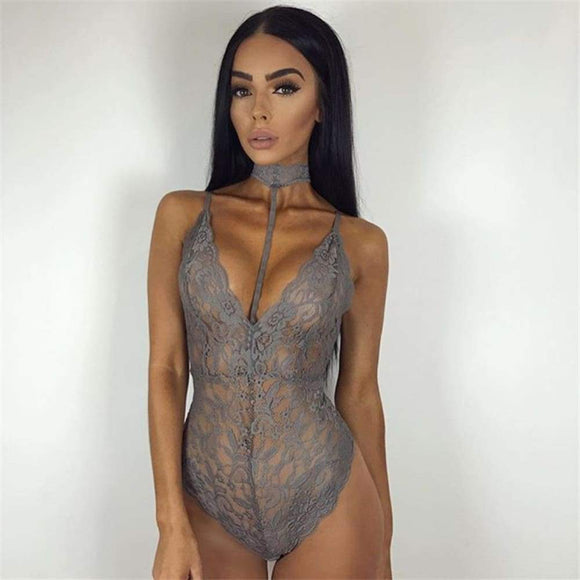 Sexy Lingerie Lace Teddies Deep V Neck Halter Women Bodysuits Teddy Sleepwear Erotic Romper Jumpsuit