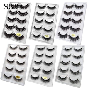 Shidi Shangpin 5 Pairs Mink Eyelashes Natural 3D Lashes Beauty Essentials FALSE Full Strip