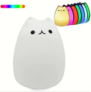 Silicone Touch Sensor Led Night Light For Children Baby Kids 7 Colors 2 Modes Cat Usb Lamp