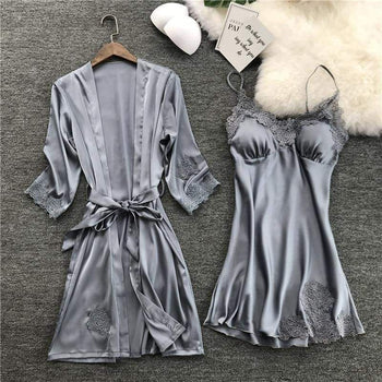 Silk Robe Female With Chest Pads Sexy Lace Sleepwear Night Dress Robes Women Nightwear Set Nighty Home Sleeping Gray