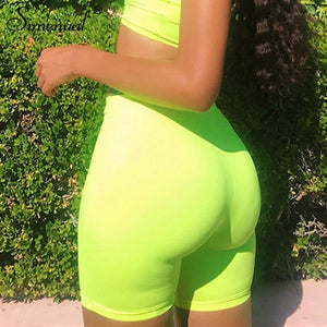 Simenual Neon Color Solid Active Wear High Waist Sporty Biker Shorts Push Up Fitness Athleisure Biker Shorts Summer 2019 Fashion