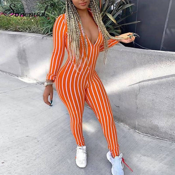 Simenual Striped Casual Fitness Sporty Rompers Womens Jumpsuit