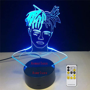 Ski Mask The Slump God Rapper 3D Led Lamp Illusion 7 Colors Changing Table Night Light Baby Bedside Decoration