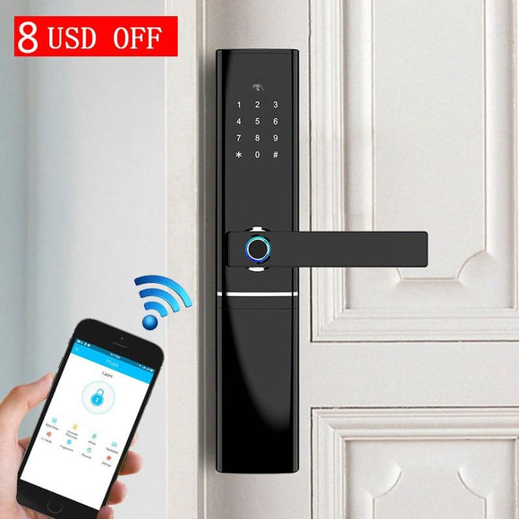 Smart Fingerprint Door Lock Security Intelligent Biometric Electronic Wifi With Bluetooth APP Unlock