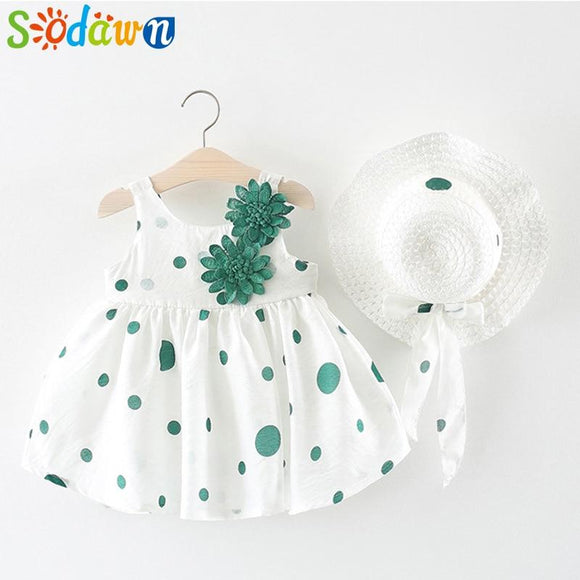 Sodawn Girls Dress Spring 0-2Y Children Clothing Two Flower Hats Princess Baby