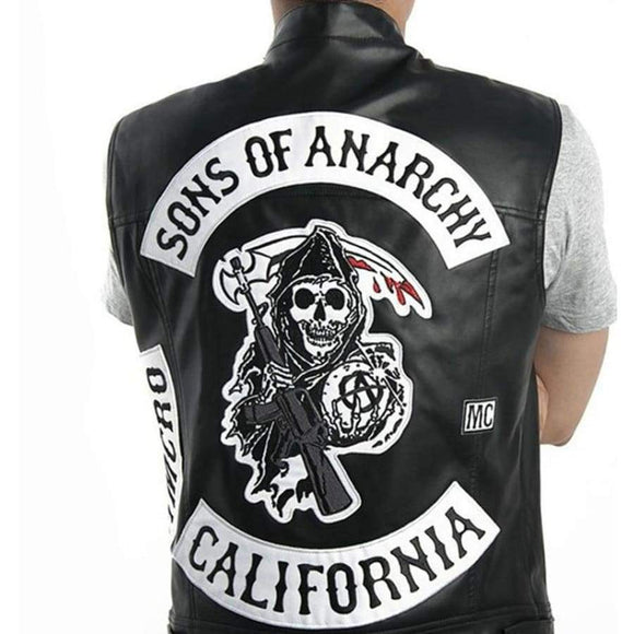 Sons Of Anarchy Harley Motorcycle Vest Tops Jacket Exquisite Quality Embroidery Leather Punk Cosplay Costume