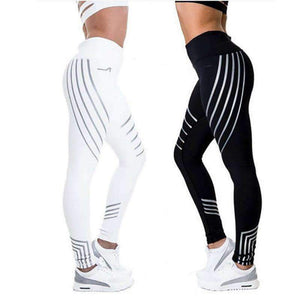 Sport Women Yoga Pants Fitness Leggings Light High Elastic Shine Leggins Workout Slim Fit Black Jeggings Trousers