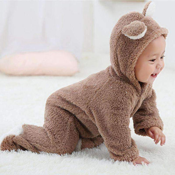 Spring Autumn Baby Clothes Flannel Boy Cartoon Animal 3D Bear Ear Romper Jumpsuit Warm Newborn Infant Brown Gray White Blue