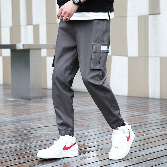 Spring Korean Men's Trousers Cotton Trend Casual Pants Overalls Large Size Nine Men Gray Cy9023