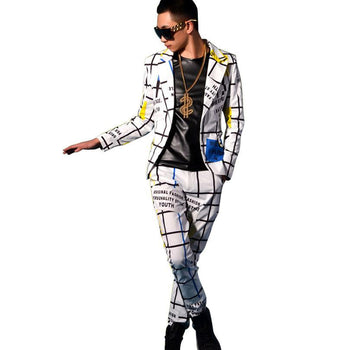 Stage Show Custom Costumes Line Lattice Slim Fit Suit Sets Jacket & Pant Men Casual Blazers Trousers Cotton Polyester