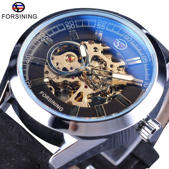 Stainless Steel Leather Forsining Waterproof Transparent Open Work Automatic Wrist Watch Mechanical Steampunk Skeleton Clock Men