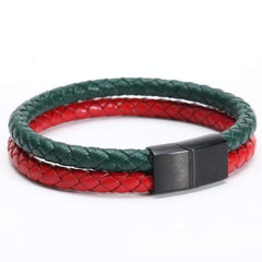 Stainless Steel Leather Men's Charms Bracelets & Bangles Double Bracelet Couple Jewellery For Men