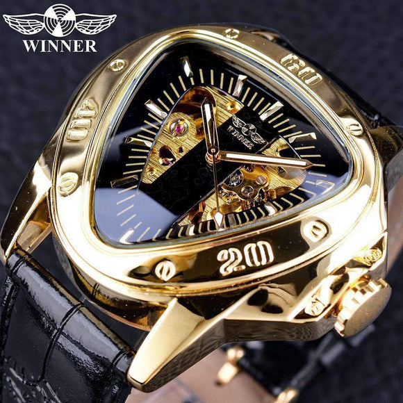 Stainless Steel Leather Winner Triangle Golden Skeleton Movement Inside Mysterious Transformers Series Men Automatic Mechanical Watch Top Luxury GMT996-3