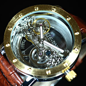 Stainless Steel Luxury Tiedan Transparent Men's Mechanical Watch Gold Tourbillon Skeleton Automatic Watches Wristwatch Leather Clock