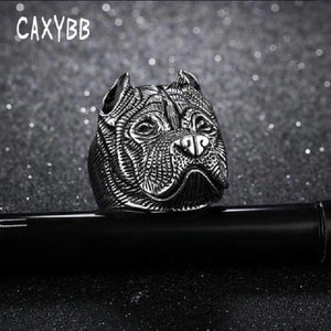 Stainless Steel Men Ring Twelve Zodiac Cool Dog Head Titanium Rings Vintage Punk Jewelers Finger Boy
