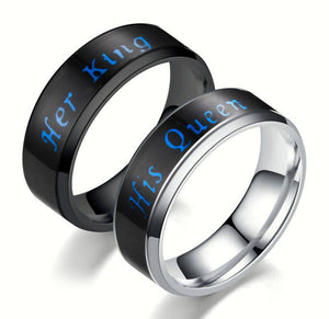 Stainless Steel Mood Color Change Emotion Feeling Intelligent Sense temperature Her King His Queen Ring Women Men Smart Jewelry